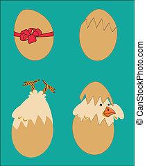 chicken design - chicken design over blue background vector...