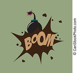 Bomb design over green background vector illustration