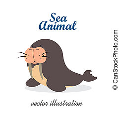 sea animal over white background vector illustration