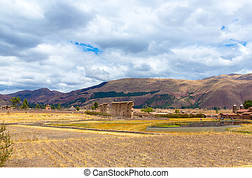 Raqchi, Inca archaeological site in Cusco, Peru Ruin of...