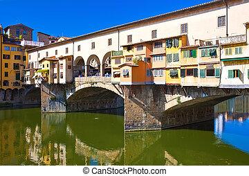Ponte Vecchio - Old bridge - Ponte Vecchio in Florence,...