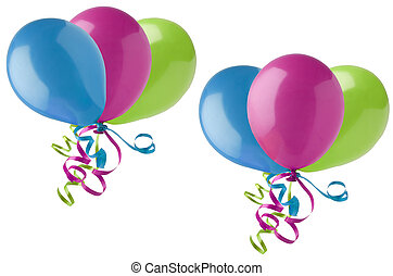 Grouped Party Balloons on White - Two different arrangements...