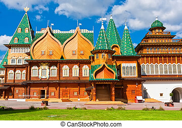 Wooden palace in Russia - Wooden palace in park Kolomenskoe,...