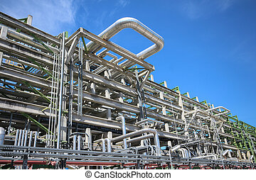 Structure with piping in refinery plant - Chemical pipeline...