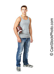 Young man holding rugby ball - Full length portrait of young...