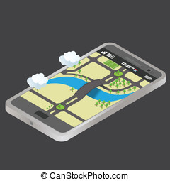 isometric phone and map