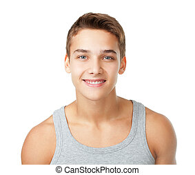 Portrait of young man wearing t-shirt isolated on white...