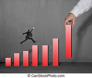 Businessman running and jumping on red bar chart with...