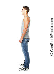 Side view portrait of young man - Full length side view...