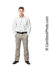 Full length portrait of young man wearing white shirt and...