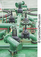 Pipes on the deck of the ship