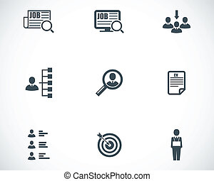 Vector black job search icons set on white background