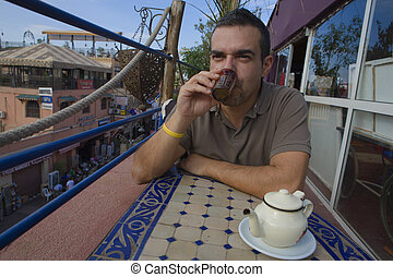 Marrakech tea - Famous traditional moroccan tea served on a...