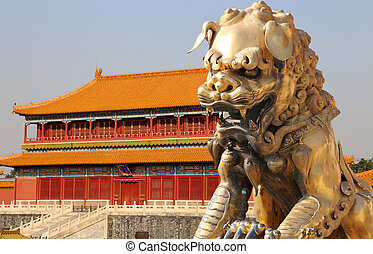 A bronze Chinese dragon statue in the Forbidden City....