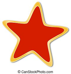 Decorative star with red and golden frame