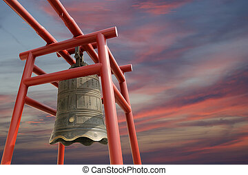 Large Buddhist bell on the background of sky