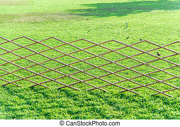 Crossed bamboo fence with green grass in the garden6