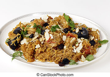 Chicken kabsa on a serving plate - An authentic Saudi...