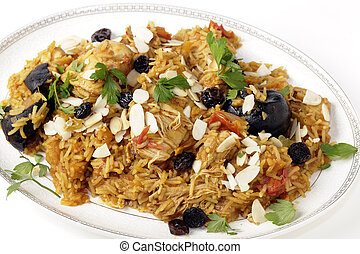 Majboos from a high angle - An authentic Saudi chicken kabsa...