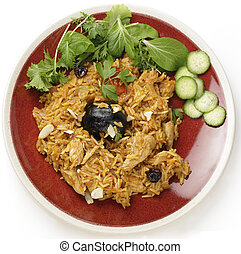 Saudi chicken kabsa meal from above - An authentic Saudi...