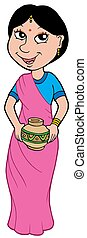 Asian girl in sari - isolated illustration.