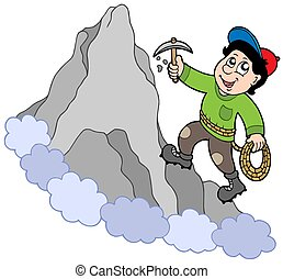 Rock climber on mountain - isolated illustration