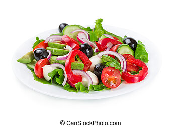 Salad with vegetables isolated on white - Salad with fresh...
