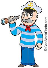 Sailor with spyglass - isolated illustration.