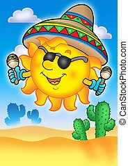 Mexican sun on blue sky - color illustration