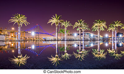 Vincent Thomas Bridge and Palm Tree reflections in San...