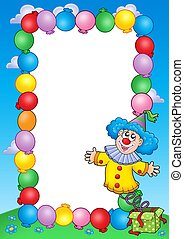 Party invitation frame with clown 3 - color illustration.