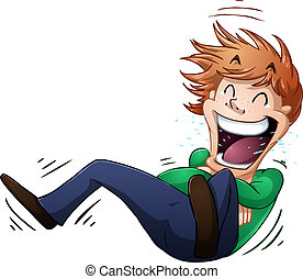 Guy Rolls On Floor Laughing - A vector illustration of a guy...