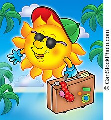 Sun traveller with palms - color illustration.
