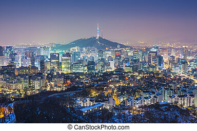 Seoul Skyline - Seoul, South Korea evening skyline.
