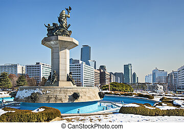 Seoul Cityscape - Seoul, South Korea cityscape from the...