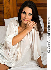 Brunette - Beautiful Czech brunette in a sheer blouse