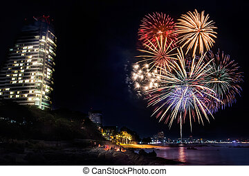 Fireworks at Pattaya beach, Thailand - Fireworks new year...
