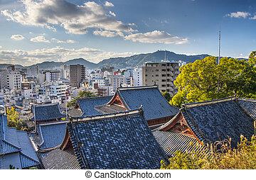 Nagasaki - Temple rooftops in Nagasaki, Japan.