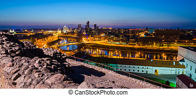 Lithuania. Beautiful golden Vilnius in the evening of the...