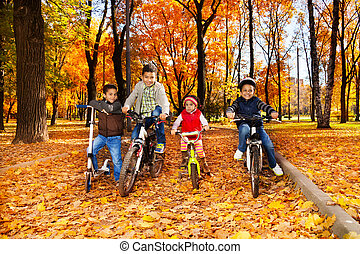 Four kids in the bikes