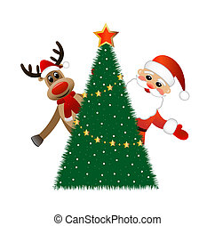 Santa claus and deer, vector illustration