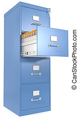 File Cabinet. - Blue File Cabinet. Open drawer with files....