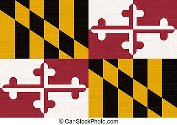 Maryland state flag on brick wall - Maryland state flag of...