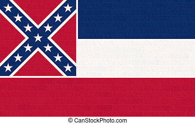 Mississippi state flag on brick wall