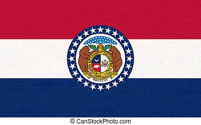Missouri state flag on brick wall