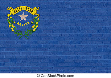 Nevada state flag on brick wall - Illustration of Nevada...