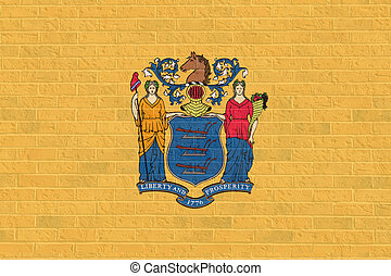 New Jersey state flag on brick wall