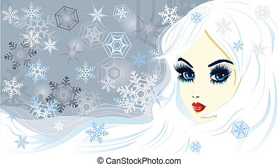 Snow queen - Beautiful fantasy snow queen on background with...