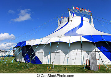 Striped circus tent - Blue and white striped circus tent in...