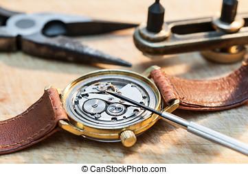 reparación, relojes